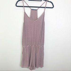 Brandy Melville Stripped Maroon And White Romper